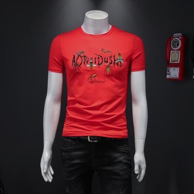 2020夏装短袖T恤圆领丝光棉半袖大码潮流刺绣打底衫 28063 P70