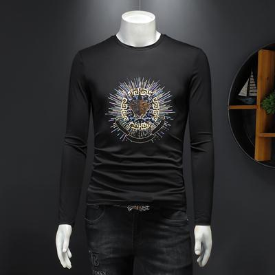 D232   27502     P85 长袖T恤男2021新款潮流刺绣亮片大码打底衫
