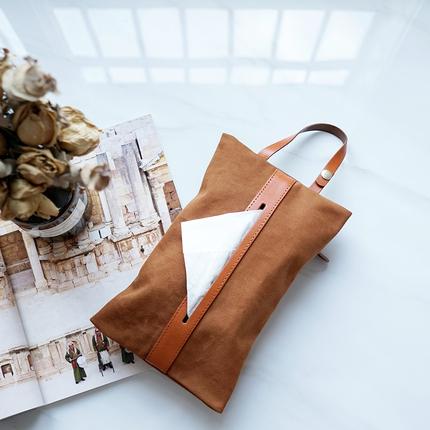 轻复古文艺帆布拼牛皮创意家居纸巾盒可折叠抽纸套车载可挂抽纸袋