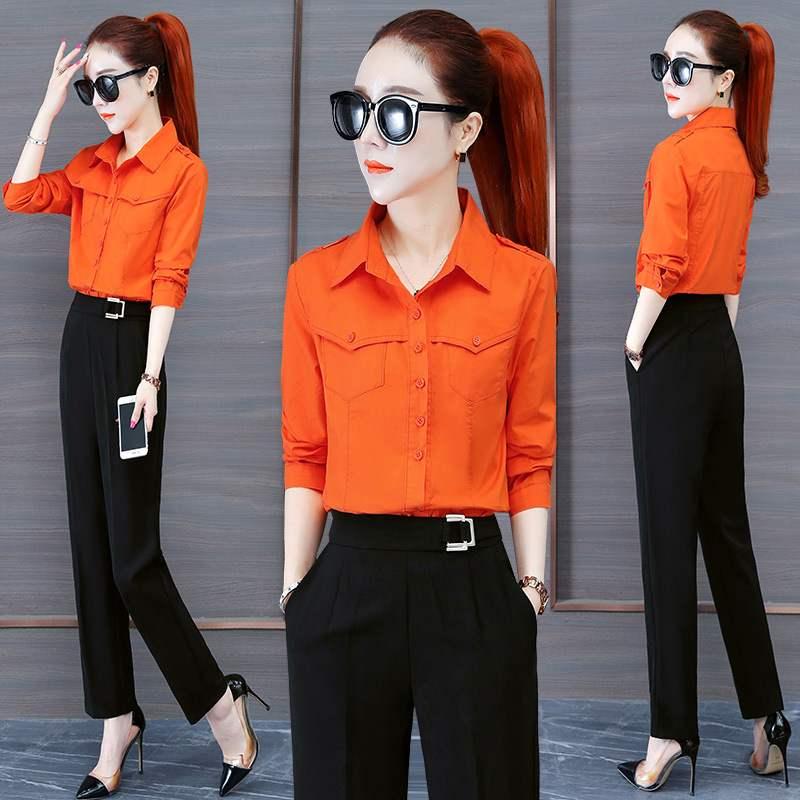 Fashion suit womens fall slim temperament Lapel shirt Harlan Leggings two piece set fall 2020