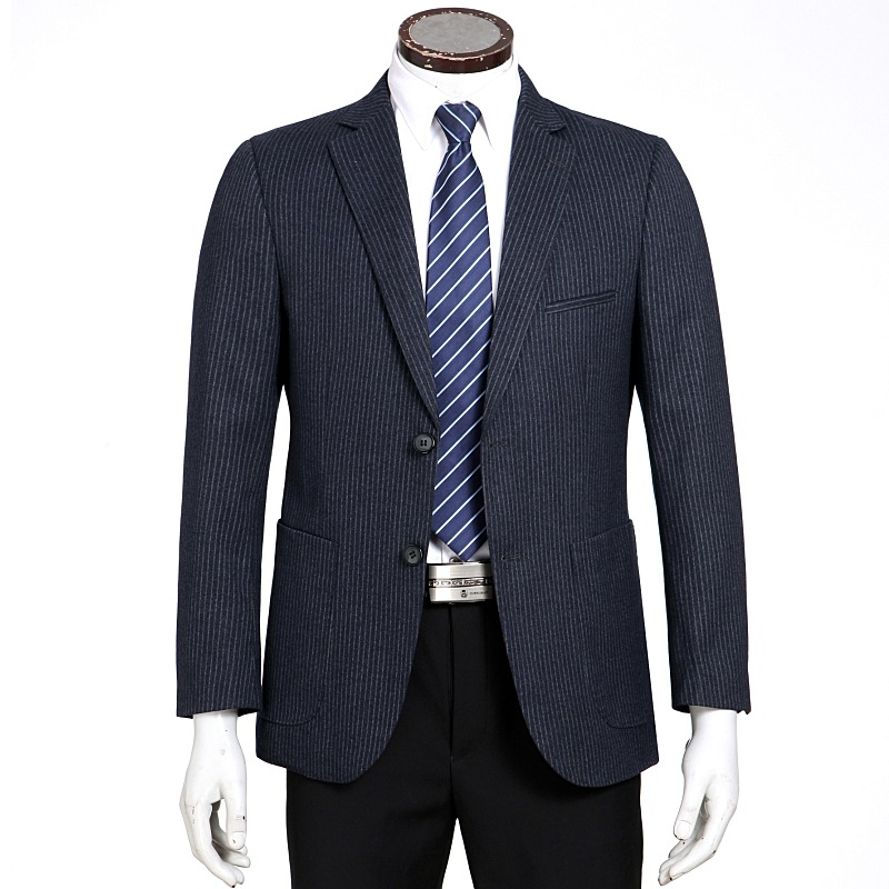 Mens suit slim business casual wool middle aged mens fashion stripe single western suit one double breasted