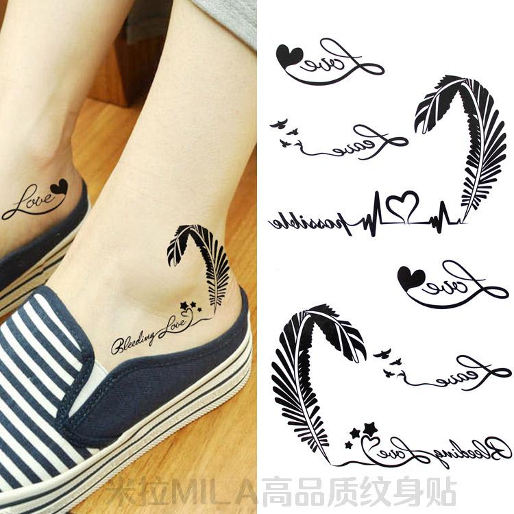 米拉/纹身贴防水女款持久 黑白个性英文字母爱心羽毛 情侣款脚踝