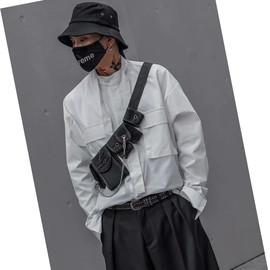 ins简约领带时尚帅气宽松工装衬衫男潮夜店DJ发型师衬衣街舞嘻哈图片