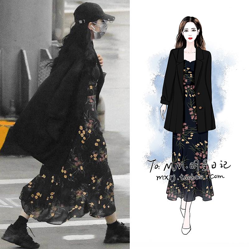 2021春装新品迪丽热巴同款法式碎花吊带连衣裙+黑色西装外套