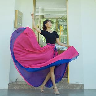 北京紫竹院舞蹈裙两面穿雪纺半身裙国标摩登舞中长款广场舞大摆裙
