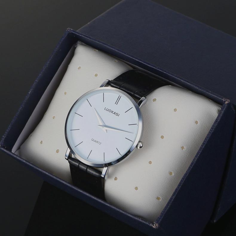 Lokas leather belt watch ultra thin mens watch non mechanical quartz watch mens trend student Watch
