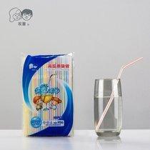 【5000支包邮】双童一次性塑料饮料豆浆果汁可弯曲彩条吸管5*185