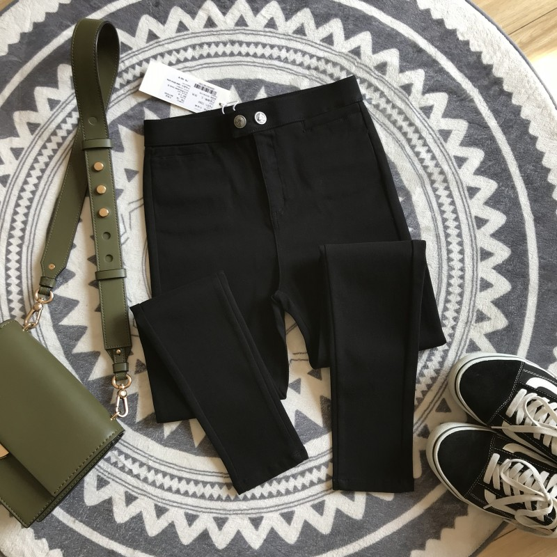 Kuwei 2021 spring new high waist tight bottom nine point pants women wear double button black pants to show thin small foot magic pants