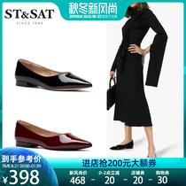 SS93111055秋季新款浅口尖头低平跟简约单鞋女2019星期六Sat&St