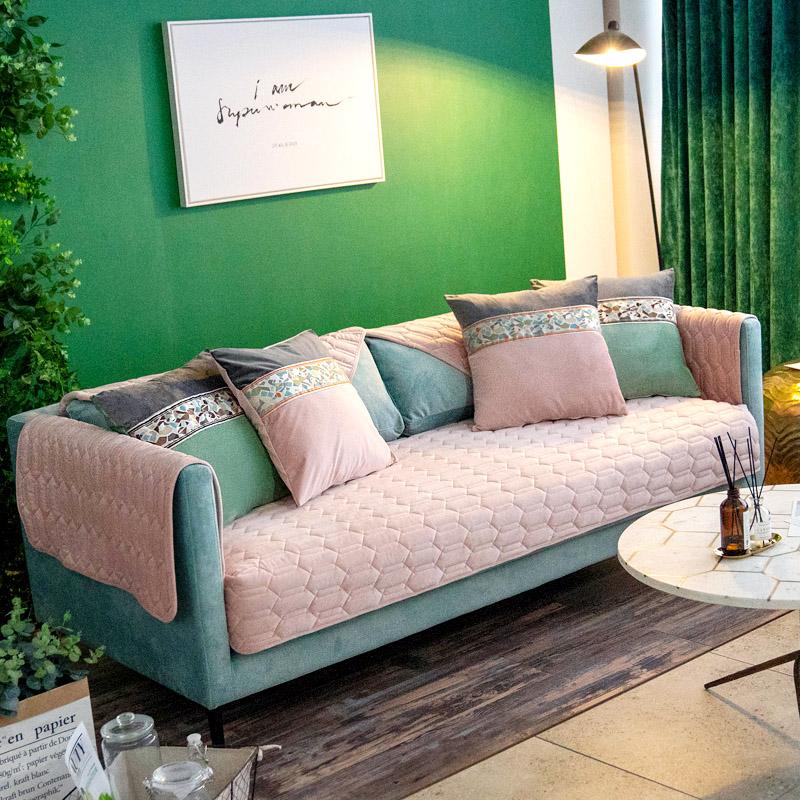 北欧ins蚕丝绒沙发垫秋冬加厚保暖沙发垫纯色毛绒防滑沙发盖巾套