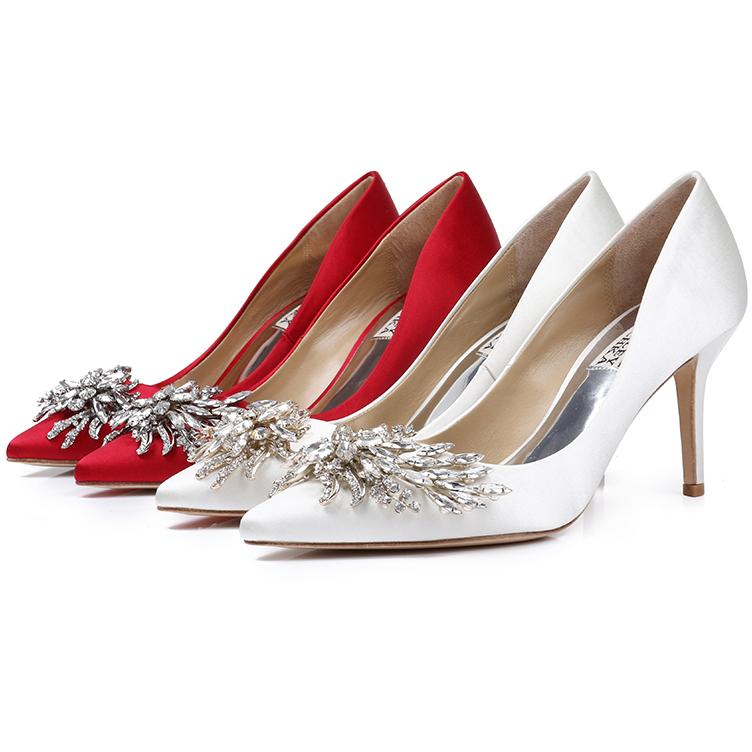 Badgley Mischka pointed high heel silk Rhinestone Wedding Dress Shoes toast dress wedding shoes dinner womens shoes