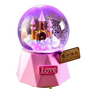 自動飄雪水晶球音樂盒八音盒雪花兒童畢業生日禮物女生女孩公主