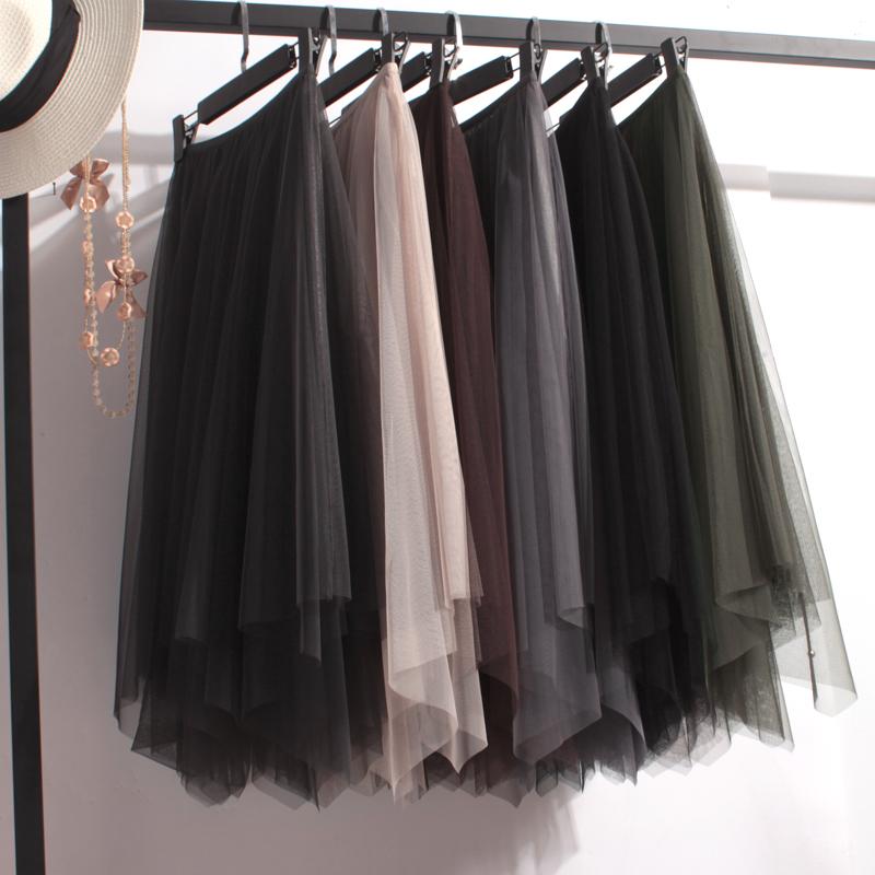 欧洲站春夏新款不规则高腰网纱长裙子  百搭不对称半身裙大摆显瘦