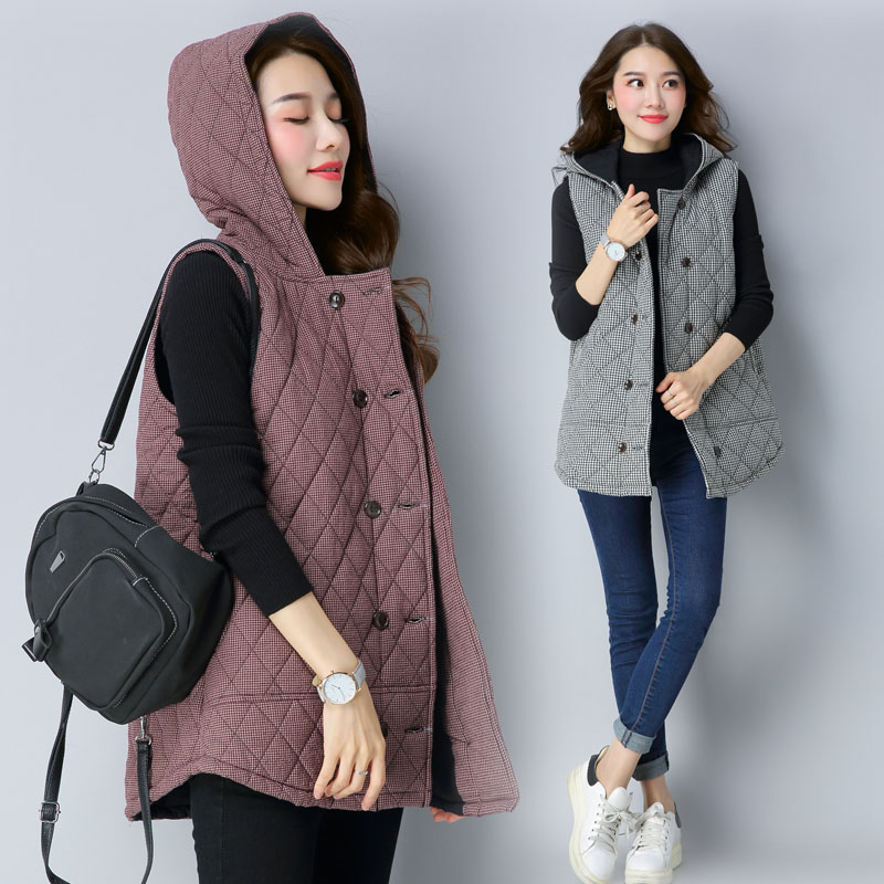 Slim and light cotton padded jacket medium length large cotton padded vest with plaid and cotton coat for womens small cotton padded jacket and hooded cotton vest