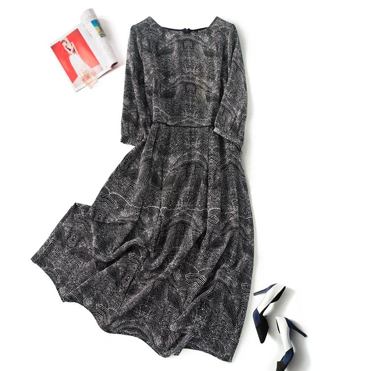 灰黑色波浪点点 桑蚕丝真丝双绉气质显瘦款大裙摆长裙连衣裙