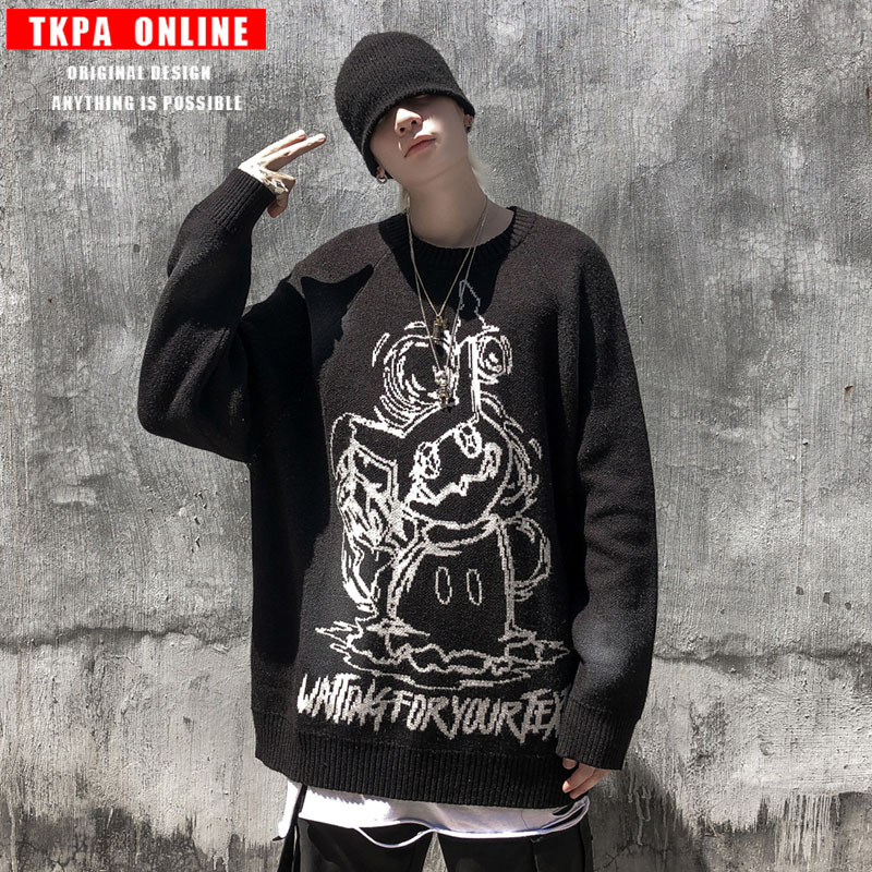 Tkpa new product in autumn and winter 2020 Guochao mens cartoon knitting sweater loose high street dark mens sweater