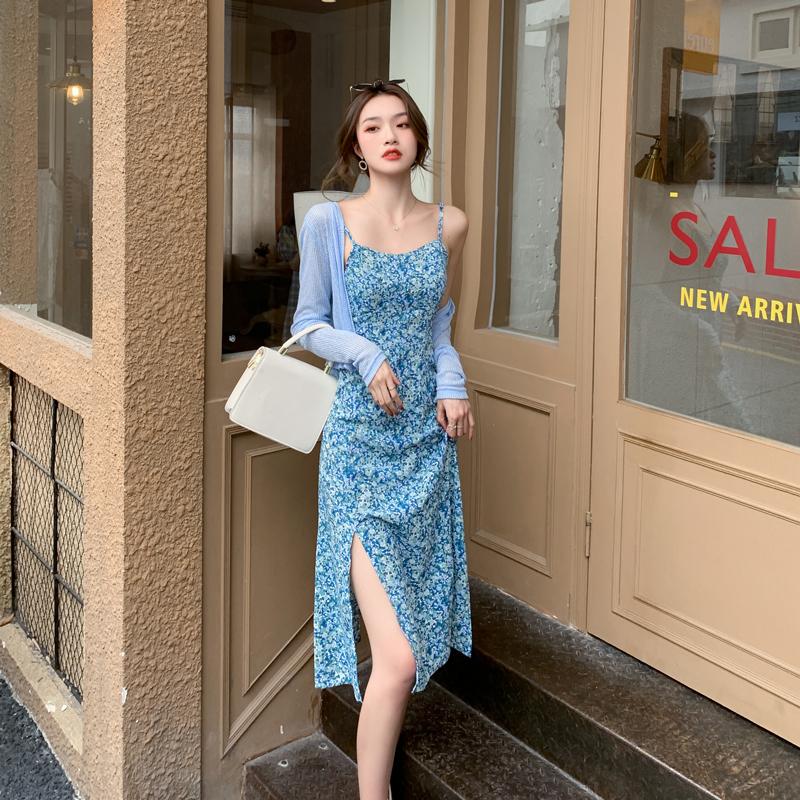实拍 2021夏装新款女装法式网红开衫+雪纺碎花连衣裙两件套女潮