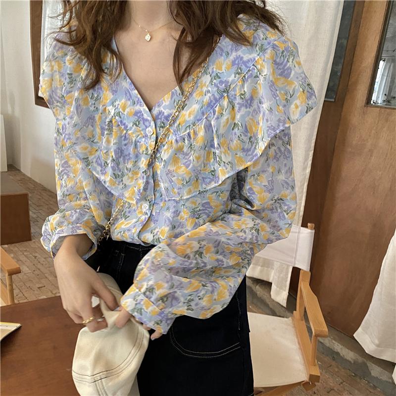 实拍 春夏新款衬衫气质v领小衫洋气上衣甜美碎花雪纺衫1444#p55