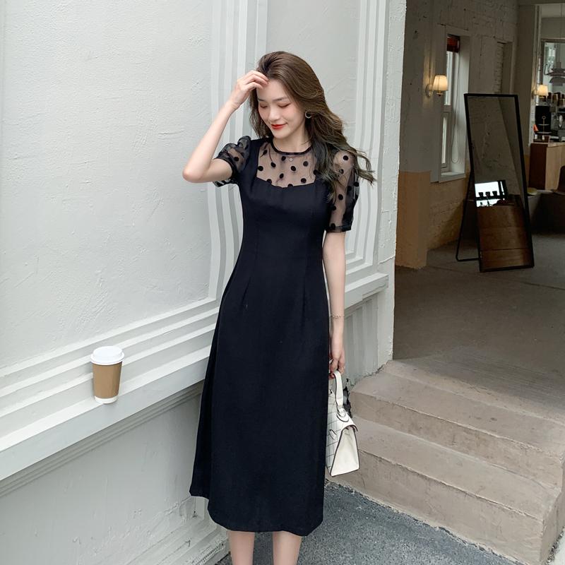实拍 2021夏装新款女装法式圆领波点拼接假两件连衣裙女p65
