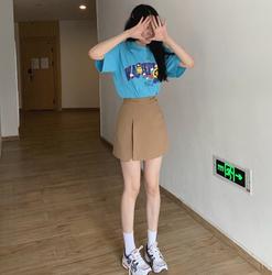 实拍2021夏装新a字半身裙子女高腰气质显瘦开叉减龄百搭短裤裙p63