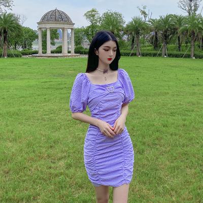 1061#控价48 新款紫色格子露肩两穿泡泡袖显瘦性感时尚包臀连衣裙                        1061#控价48 新款紫色格子露肩两穿泡泡袖显瘦性感时尚包臀连衣裙