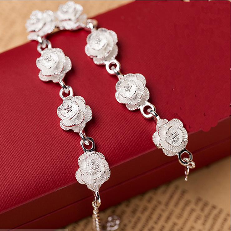 韩版时尚复古玫瑰花银手链 磨砂蒲公英花朵女百搭气质流行配饰品