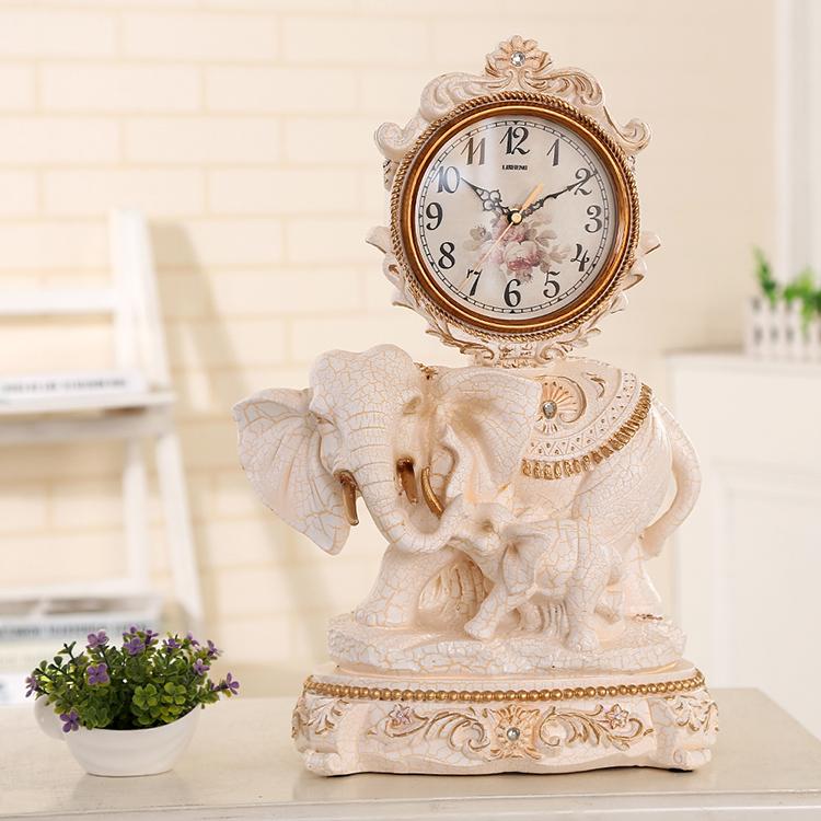 欧式复古座钟台钟静音卧室客厅装饰摆件时钟时尚创意台式钟表大象