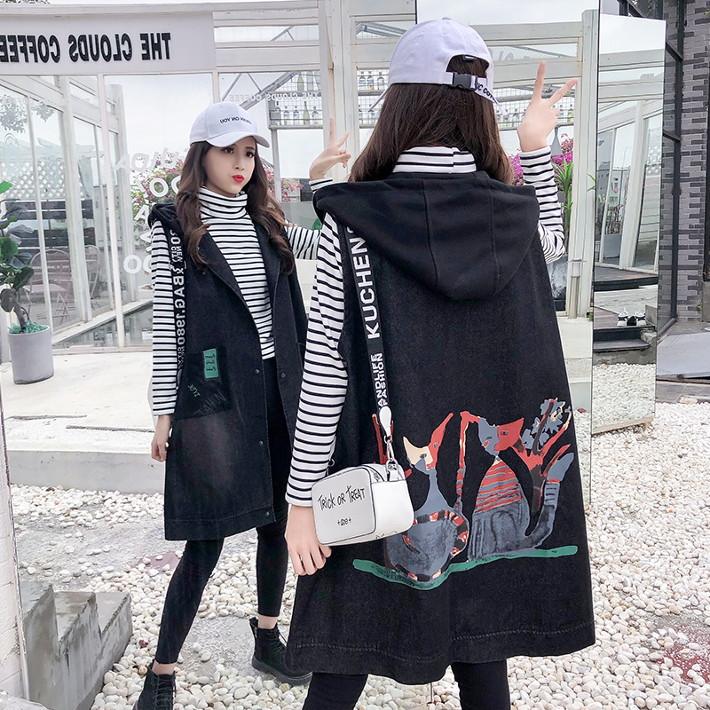 Fattening and oversized denim vest spring and autumn loose vest womens mid long hooded print sleeveless jacket