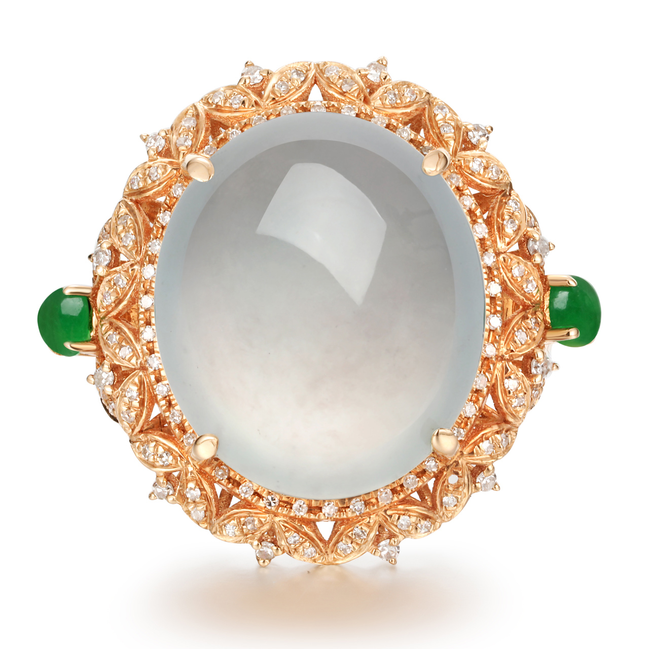 Upstairs a goods jade ice white egg face green egg 18K Gold Diamond Ring w 1285 13.5#