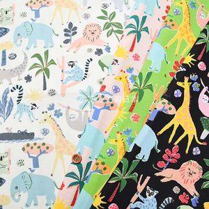 日本进口森林狮子大象动物纯棉牛津布服装衬衫日韩卡通拼布艺面料