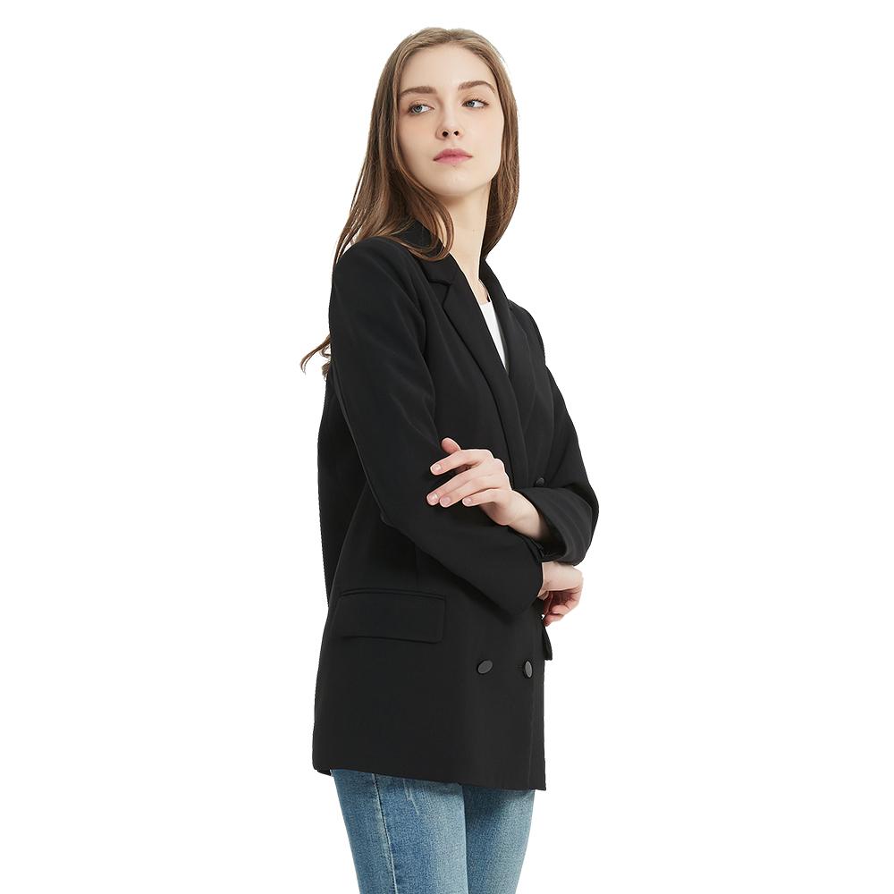 热曼女式双排扣黑色西服2020新款职业长袖西装时尚OL纯色直筒西服