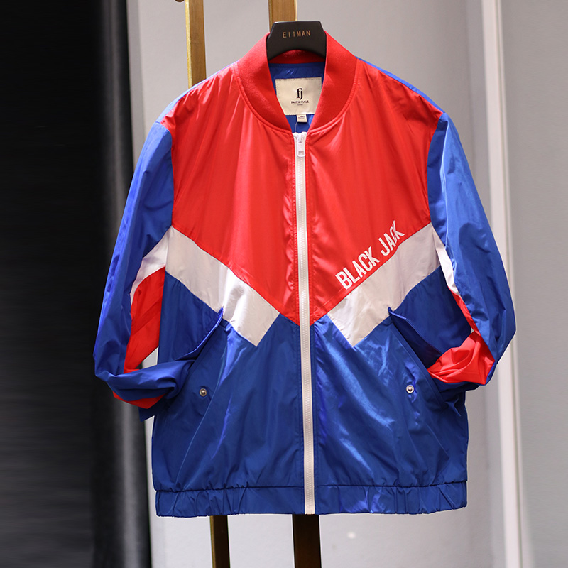 0403 (MK) engiimoo mens red, white and blue school style jacket loose casual top fashion brand handsome