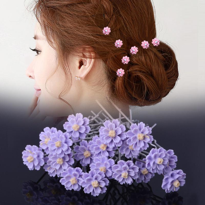 新款编发盘发神器插针发饰可爱花朵U型夹新娘结婚头饰配饰品发簪