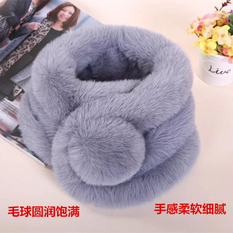Plush scarf womens winter thickened neck imitation fur Rex rabbit hair three tube neck cover