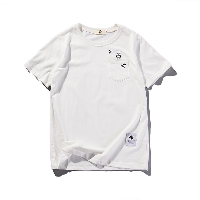 清仓特价夏季机器人刺绣宽松T恤男圆领日系潮男纯色百搭短袖上衣