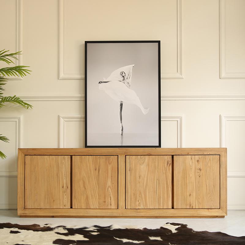 电视柜茶几组合套装客厅现代简约原木色北欧小户型全实木简欧地柜