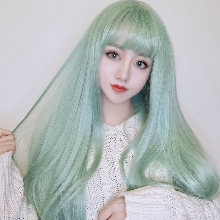 Harajuku fashion green long straight hair sweet air bangs wig female long hair Lolita live makeup fake hair