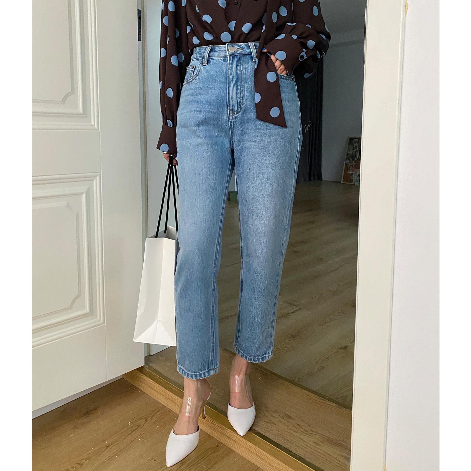 DALU 颜色版型赞爆的宽松高腰牛仔裤 直通九分裤女 2021年新款