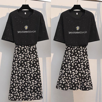 单件/套装女夏季2020新款韩版小雏菊刺绣T恤小碎花半身裙两件套潮