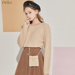 阿卡圆领套头米黄色毛衣女慵懒风2020年秋季新款韩版宽松长袖上衣