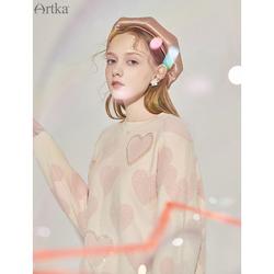 阿卡日系软奶毛衣女宽松外穿2020年秋季新款爱心印花少女风上衣