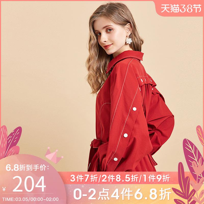阿卡复古红色长袖连衣裙女2021年春季新款宽松收腰衬衫裙风衣外套