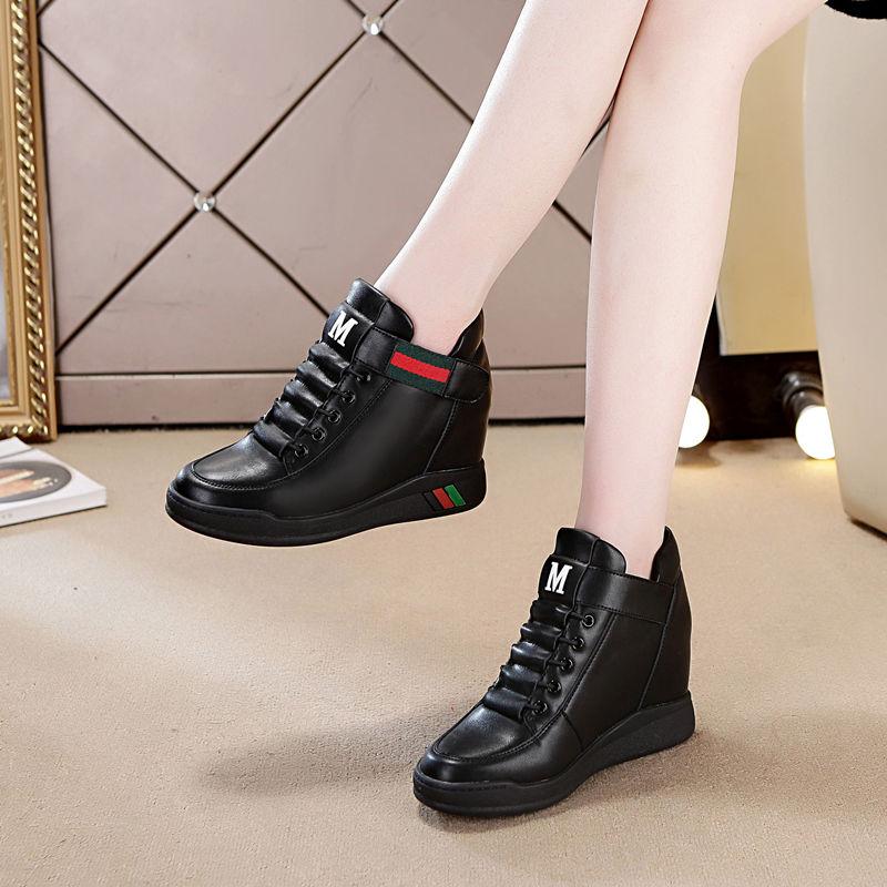 内增高女鞋小白鞋2019新款高帮运动鞋百搭厚底休闲坡跟单鞋p30