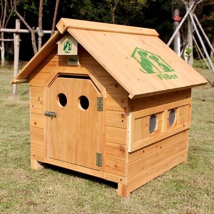FIBER范博包邮卡通圆孔款本色抽拉底板实木狗屋狗窝室外防雨猫窝