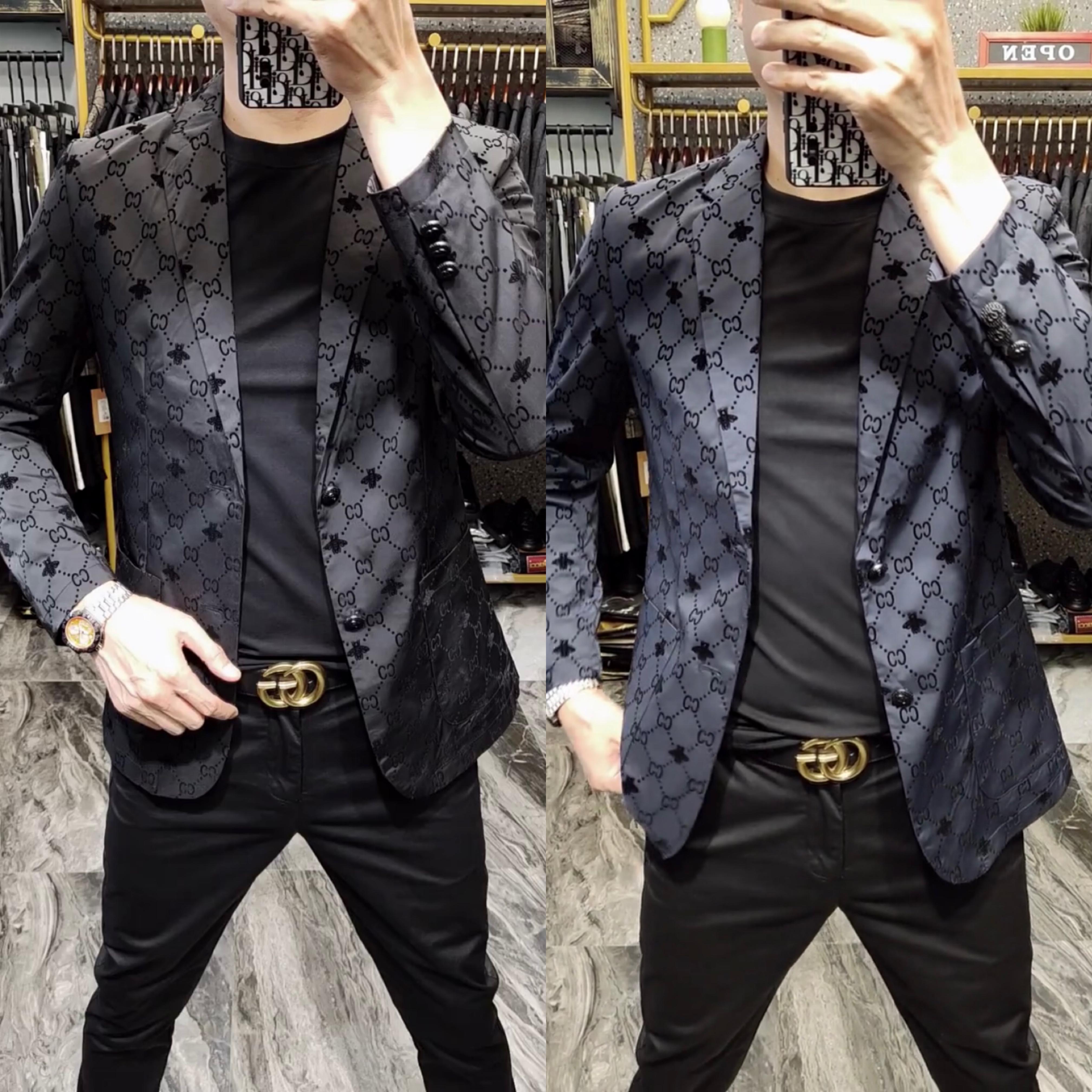 9902秋季男士修身黑色时尚潮流暗花欧货商务休闲时装长袖西服外套