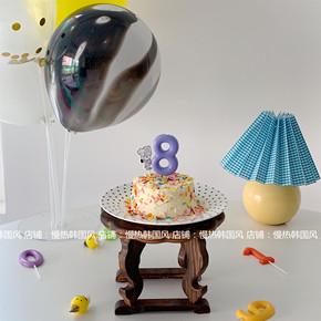 韩国ins 数字蜡烛过生日蛋糕装饰环保无烟蜡烛派对儿童卡通甜品台