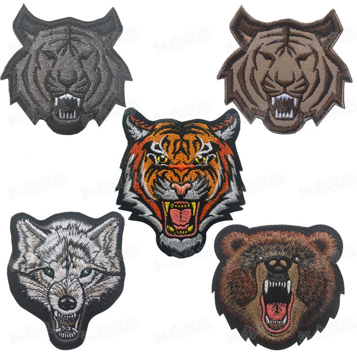 亚马逊现货刺绣魔术贴臂章动物狼头虎头熊头军迷士气章补丁