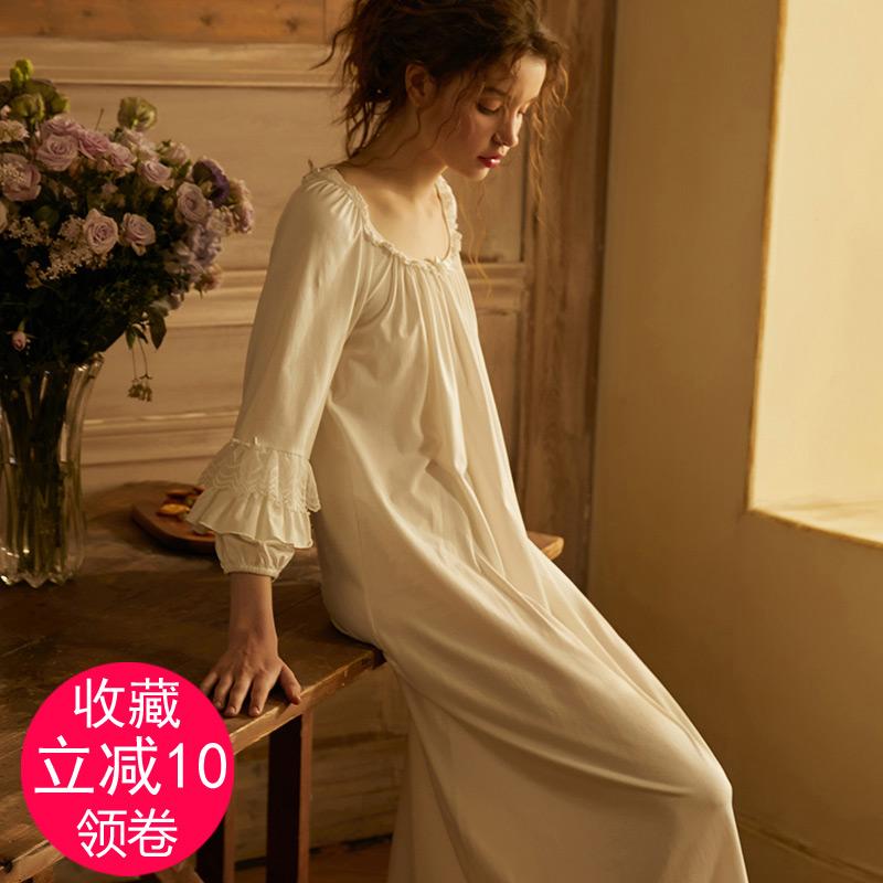 尘熙欧式复古宫廷公主风睡裙仙女长款中袖方领纯棉布白性感睡衣春