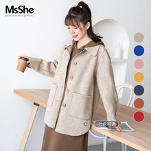 MS she large winter women's 2019 new fat mm western style loose and slim single side woolen overcoat