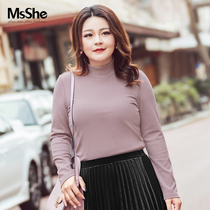Msshe Big size knitted bottom shirt fat mm2018 new autumn dress vertical collar pit knitted T-shirt M1832146